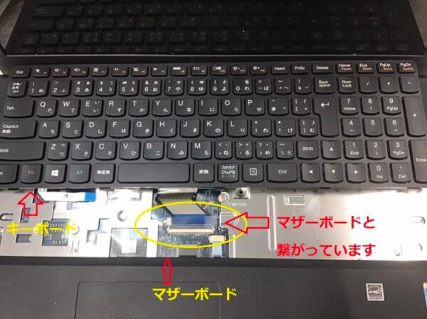 DELLノートパソコン Inspiron 15の内蔵キーボードの一部キーが効かない症状の修理事例