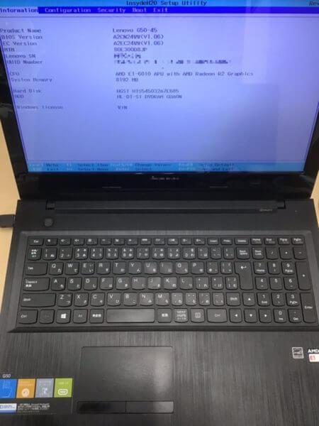 Lenovo G50(G50-45)- Type 80E3へのWindowsインストール