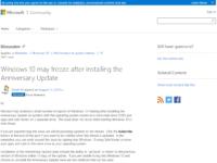 Windows 10のアニバーサリーアップデートでフリーズする問題が発生中
