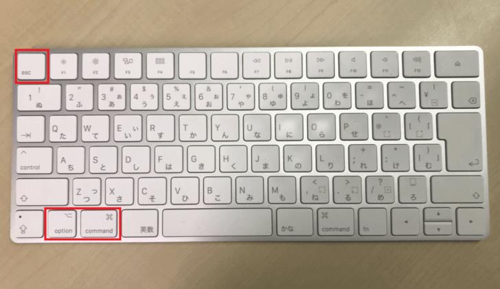 Macキーボードで強制終了する方法